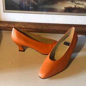 Orange leather low heels